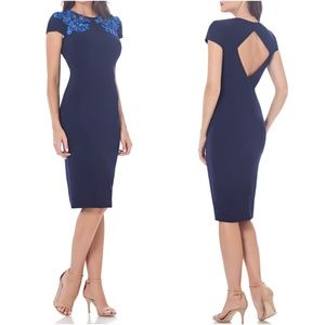 JS Collections Embroidered Jersey Sheath Dress